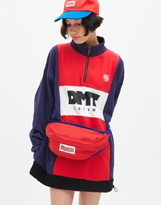 DIMITO LOGO TAPE WAIST BAG RED