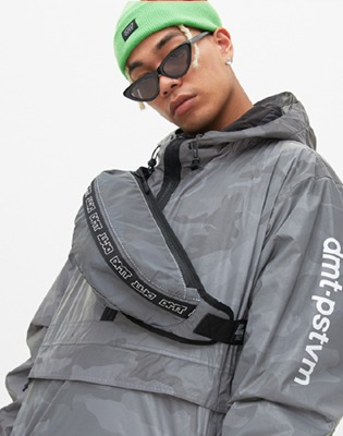 DIMITO LOGO TAPE WAIST BAG REFLECTIVE GREY CAMO