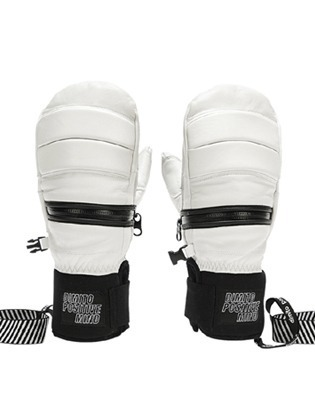 디미토 1819 DIMITO LEATHER ZIP MITTEN WHITE 보드장갑