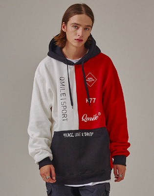 1819 QMILE VETICAL COLORBLOCK HOODIE SWEATSHIRTS RED/WHITE / 큐마일 베티칼 컬러블럭 후디 레드화이트