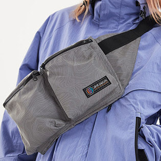 1920 DIMITO DOUBLE POCKET WAIST BAG REFLECTIVE LINE GREY