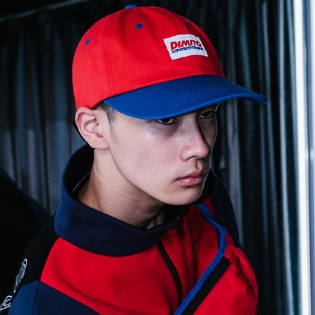 1819 DIMITO FONT LOGO 6 PANEL CAP RED/ROYAL BLUE