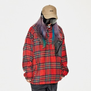 1920 비에스래빗 BETTER CHECK ANORAK SHIRT RED CHECK