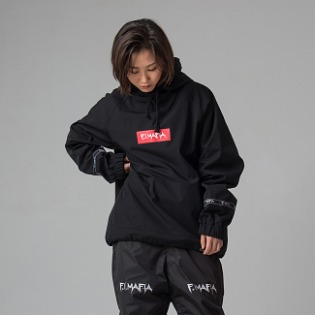 1920 F.I.MAFIA RED LOGO WATEPROOF HOODIE BLACK