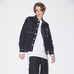 2021  BSRABBIT STITCHES BUTTON COACH JACKET BLACK