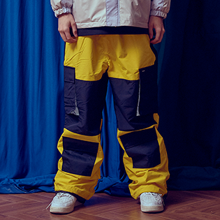 2021BSRABBIT CARGO POCKET BOX TRACK PANTS YELLOW