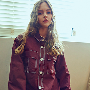 2021 BSRABBIT STITCHES BUTTON COACH JACKET BURGUNDY