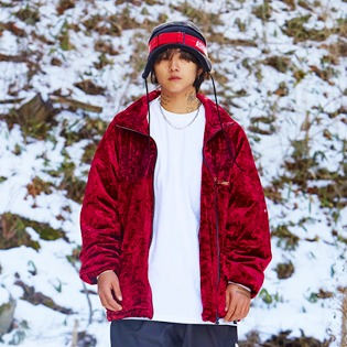 2021 비에스래빗 BSRABBIT DSXBR BLING VELVET PUFFER JACKET RED