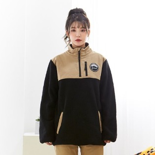 1920 요비트 FLEECE ANORAK JACKET BLACK CAMEL