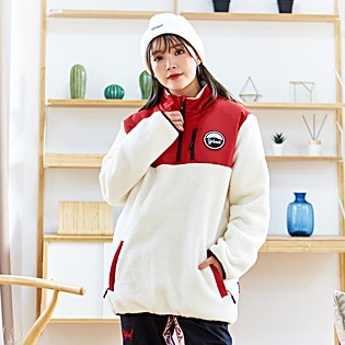 1920 요비트 FLEECE ANORAK JACKET IVORY BURGANDY